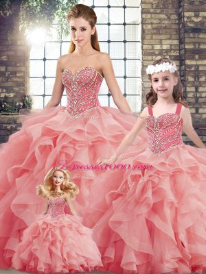 Stylish Lace Up 15th Birthday Dress Watermelon Red for Military Ball and Sweet 16 and Quinceanera with Beading and Ruffles Brush Train