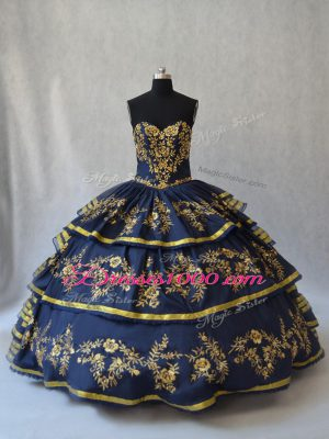 Navy Blue Sweetheart Neckline Embroidery and Ruffled Layers 15th Birthday Dress Sleeveless Lace Up