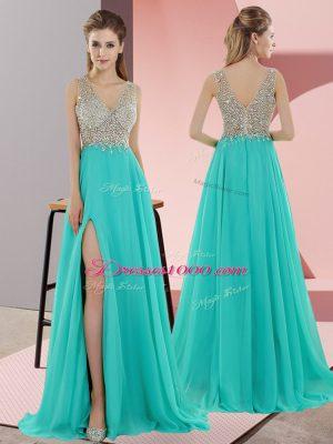 Turquoise Chiffon Zipper Prom Gown Sleeveless Sweep Train Beading