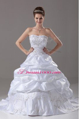 Classical White Taffeta Lace Up Wedding Gowns Sleeveless Brush Train Beading and Embroidery and Pick Ups