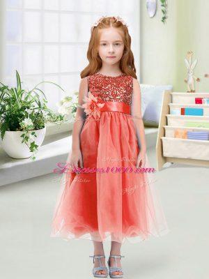 Most Popular Watermelon Red Scoop Zipper Sequins and Hand Made Flower Flower Girl Dresses Sleeveless
