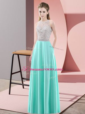 Fine Scoop Sleeveless Satin Party Dress Wholesale Beading Backless
