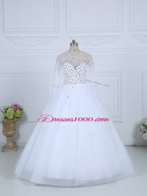 Luxury Beading Bridal Gown White Lace Up Long Sleeves Floor Length
