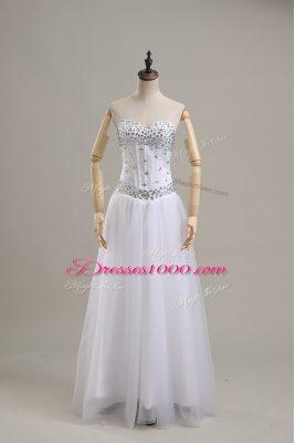 Graceful White Empire Beading Wedding Dresses Lace Up Tulle Sleeveless Floor Length