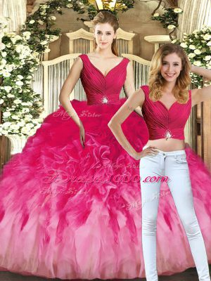 Flare V-neck Sleeveless Lace Up Quinceanera Gowns Multi-color Tulle