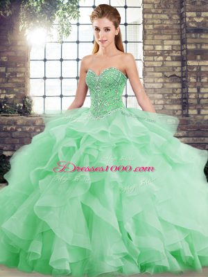Green Ball Gowns Beading and Ruffles Ball Gown Prom Dress Lace Up Tulle Sleeveless