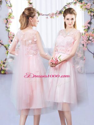 Exquisite Sleeveless Tea Length Appliques and Belt Lace Up Bridesmaid Dresses with Baby Pink