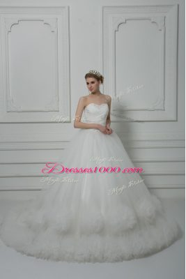White Ball Gowns Tulle Sweetheart Sleeveless Beading and Hand Made Flower Lace Up Wedding Dresses Court Train