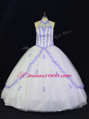 On Sale Tulle Sleeveless Floor Length Quinceanera Gown and Appliques