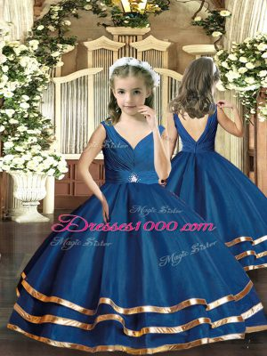 V-neck Sleeveless Little Girl Pageant Gowns Floor Length Beading Navy Blue Organza