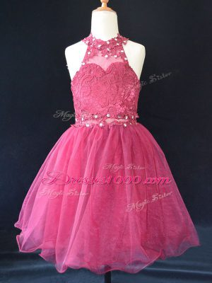 Super Hot Pink A-line Beading and Lace Flower Girl Dress Lace Up Organza Sleeveless Mini Length