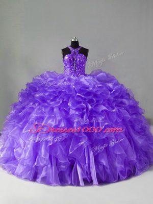 Beading and Ruffles Sweet 16 Quinceanera Dress Lavender Zipper Sleeveless Brush Train