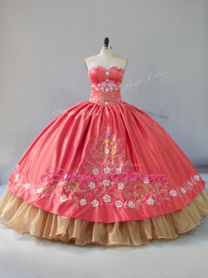 Sweetheart Sleeveless Lace Up 15 Quinceanera Dress Watermelon Red Satin and Organza