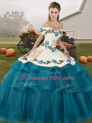 Flare Teal Lace Up Off The Shoulder Embroidery and Ruffled Layers Quinceanera Gown Tulle Sleeveless Brush Train