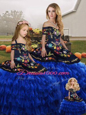 Beauteous Blue And Black Off The Shoulder Neckline Embroidery and Ruffled Layers Quinceanera Gowns Sleeveless Lace Up