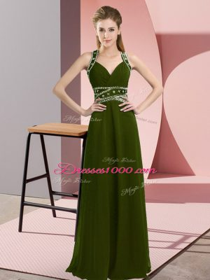 Olive Green Sleeveless Floor Length Beading Backless Prom Dress