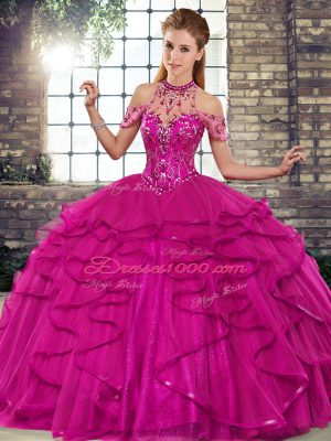 Fuchsia Halter Top Neckline Beading and Ruffles Ball Gown Prom Dress Sleeveless Lace Up