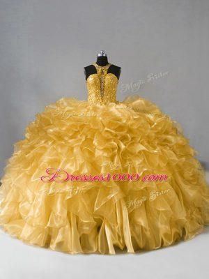 Glittering Floor Length Gold Sweet 16 Dress High-neck Sleeveless Zipper