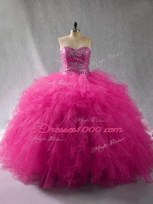 On Sale Fuchsia Ball Gowns Tulle Halter Top Sleeveless Beading and Ruffles Floor Length Lace Up Sweet 16 Dress