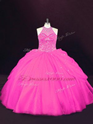 Hot Selling Hot Pink 15th Birthday Dress Sweet 16 and Quinceanera with Beading Halter Top Sleeveless Lace Up