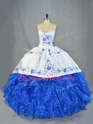 Beauteous Sweetheart Sleeveless Organza Ball Gown Prom Dress Beading and Embroidery and Ruffles Brush Train Lace Up