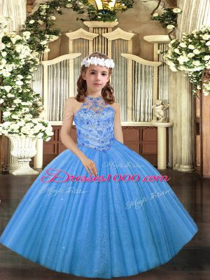 Fashionable Baby Blue Sleeveless Floor Length Beading Lace Up Little Girls Pageant Dress
