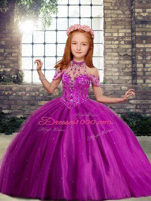 Cute Fuchsia Little Girls Pageant Dress Party and Wedding Party with Beading High-neck Sleeveless Lace Up