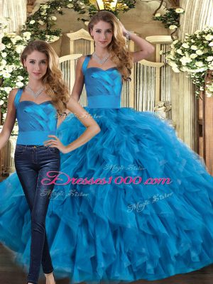 Cheap Floor Length Blue Quinceanera Dresses Halter Top Sleeveless Lace Up