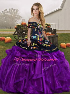 Off The Shoulder Sleeveless Quinceanera Gown Floor Length Embroidery and Ruffles Black And Purple Organza