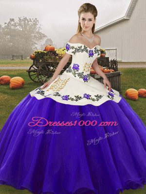 Chic White And Purple Lace Up Sweet 16 Quinceanera Dress Embroidery Sleeveless Floor Length