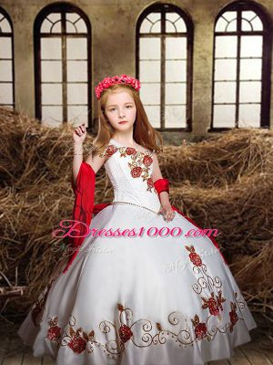 Stunning White Off The Shoulder Lace Up Embroidery Girls Pageant Dresses Sleeveless