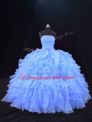 Unique Strapless Sleeveless Lace Up Quinceanera Gown Purple Organza