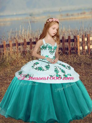 Teal Sleeveless Embroidery Floor Length Girls Pageant Dresses