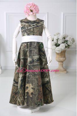 Multi-color Sleeveless Floor Length Belt Zipper Flower Girl Dress