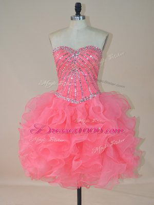 Best Selling Pink Evening Dress Prom and Party with Beading and Ruffles Sweetheart Sleeveless Zipper
