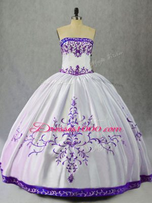 Sweet Satin Sleeveless Floor Length 15 Quinceanera Dress and Embroidery