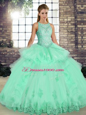 Sleeveless Tulle Floor Length Lace Up Sweet 16 Dresses in Apple Green with Lace and Embroidery and Ruffles