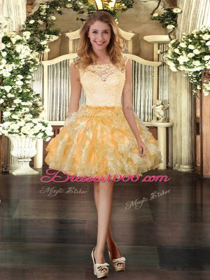 Cute Gold Scoop Zipper Lace and Ruffles Hoco Dress Sleeveless