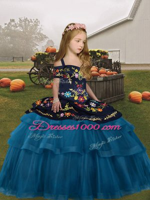 Most Popular Floor Length Teal Little Girls Pageant Dress Wholesale Straps Sleeveless Lace Up