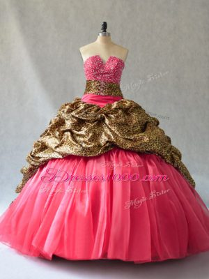 Exquisite Ball Gowns Ball Gown Prom Dress Coral Red V-neck Organza Sleeveless Floor Length Lace Up