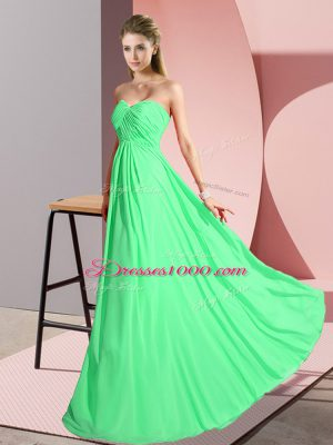 Clearance Green Sleeveless Floor Length Ruching Lace Up Dress for Prom