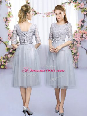Artistic Scoop Half Sleeves Court Dresses for Sweet 16 Tea Length Lace and Belt Grey Tulle