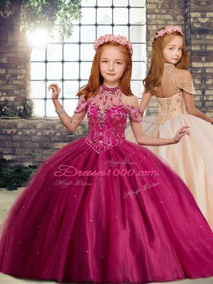 Fantastic Fuchsia Kids Formal Wear Party and Wedding Party with Beading High-neck Sleeveless Lace Up