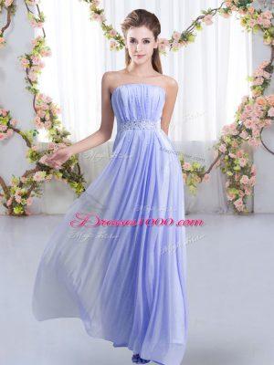 Fantastic Beading Vestidos de Damas Lavender Lace Up Sleeveless Sweep Train