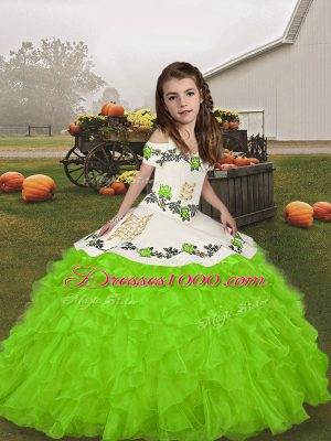 Sleeveless Embroidery and Ruffles Lace Up Pageant Dress for Womens