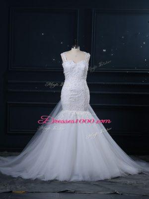 Noble White Wedding Dresses Straps Sleeveless Brush Train Side Zipper