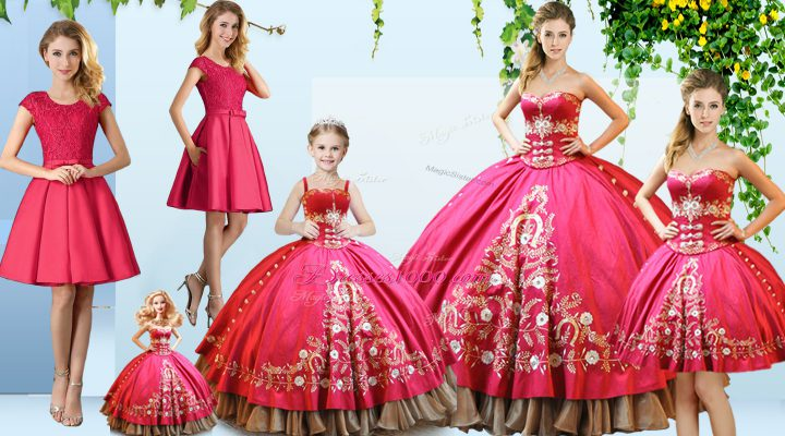 Ideal Embroidery Sweet 16 Dresses Hot Pink Lace Up Sleeveless Floor Length
