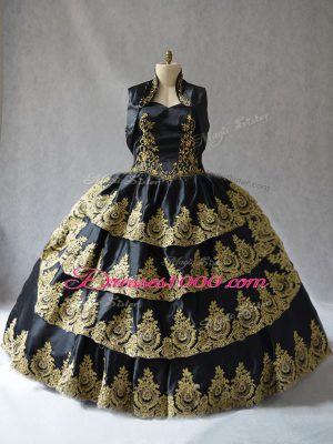 Simple Black Sleeveless Floor Length Embroidery Lace Up Quinceanera Dresses