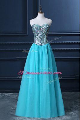Admirable Sleeveless Floor Length Beading Zipper Pageant Dress with Aqua Blue