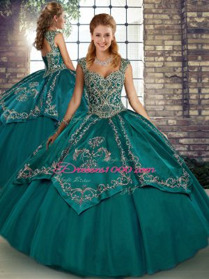 Dynamic Sleeveless Floor Length Beading and Embroidery Lace Up Quinceanera Gowns with Teal